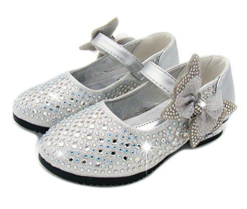 Brinny Fashion Fille Princesse Chaussures en Cuir escarpins faux diamant Bowknot Velcro enfants ballerines shoes Basses bloc 2cm 4 Couleur Taille: 26-36 Argenté