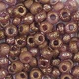 10 gr (su 190 pezzi) 6/0 (3,7-4,3mm) Ceco Perline tonde con una finitura unica acquaforte chimica, Etched Crystal Bronze