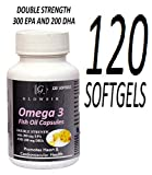 GLOWSIK FISH OIL OMEGA 3 DOUBLE STRENGTH CAPSULES 1000mg with 300 mg EPA