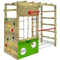 FATMOOSE Parque infantil de madera CleverClimber, Área de juegos da exterior, Escalera Sueco con pared de escalada para niños