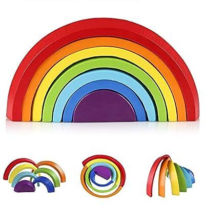 KanCai Puzzle Rompecabezas Forma de Arco Iris Madera, 7 Color del Juguetes Juegos Educativos Aprendizaje