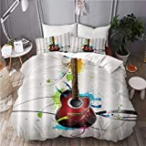BEITUOLA Bettwäsche-Set,Abstraktes Gitarren Musikinstrument,1 Bettbezug 135 X 200cm + 2 Kopfkissenbezug 50 X 80cm