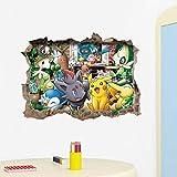 Dessin animé 3D Pikachu Pokemon Go Wall Art Autocollants Pour Les Chambres D'enfants Décorations pour La Maison Stickers Fenêtre Cadeau Pour Enfants Diy Pvc Posters