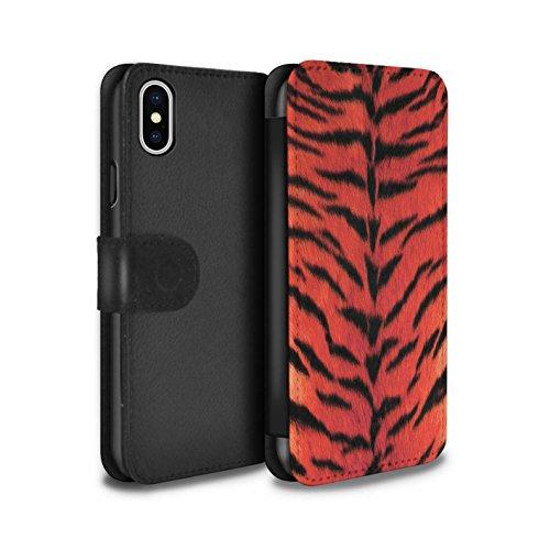 Stuff4 Coque/Etui/Housse Cuir PU Case/Cover pour Apple iPhone X/10 / Rouge Design / Tigre animale Peau/Motif Collection Rouge