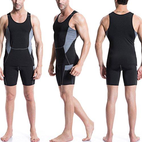 Zhhlaixing Buona qualità Mens Vest Wicking Cool Dry Running Gym Top Sports Shirt Black
