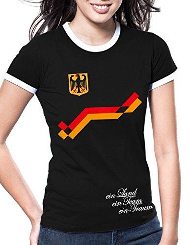 Luckja EM 2016 Trikot Deutschland Fanshirt Retro-Look Motiv 8 Damen Rundhals T-Shirt (Götze Damen-t-shirt)