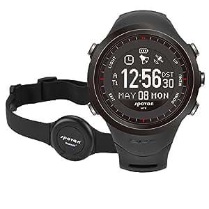 Anself Spovan GL004 ricaricabili sport dell'orologio della vigilanza di GPS Navigation cardiofrequenzimetro con Bluetooth 4.0 toracica 3D pedometro Altimetro Bussola Cronometro 5ATM impermeabile LED Backlight