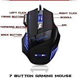 Farraige Latest 2018 Optical Technology DPI 7 Button LED Optical USB Wired Gaming Mouse 7 LED Colours For Pro Gamer With Free High Quality Mouse Pad With Attractive Pecking - Black