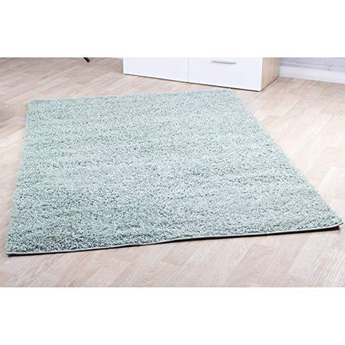 Hochflor Teppich   Shaggy Teppich fürs Wohnzimmer Modern & Flauschig   Läufer für Schlafzimmer, Esszimmer, Flur und Kinderzimmer   Langflor Carpet Soft Mint 120x170 cm