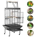 Yaheetech Grande Cage Oiseaux Perroquet Métal 4 roulettes Mobiles Zone Jeu Supérieur Perruche Mandarin Amazones Gris d'Afrique