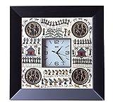 odishabazaar laiton dhokra art travail superbe peinte ? la main tribal horloge murale murale montre d?coration murale pour home office d?cor et cadeaux 40 6 x 40 6 cm