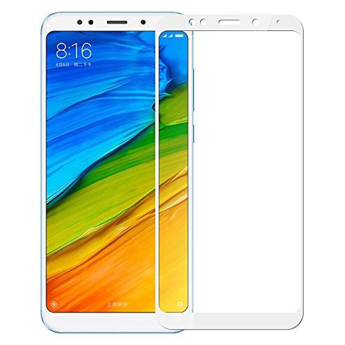 SMARTrich - Protector de pantalla para Xiaomi Redmi 5 Plus (dureza 9H, antiarañazos, ultra transparente, antihuellas) blanco blanco 8*4cm
