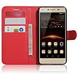 SMTR Huawei Y5II / Huawei Y5 2 Coque PU Cuir Flip Housse Étui Cover Case Wallet Portefeuille Supporter avec Carte de Crédit Fentes pour Huawei Y5II / Huawei Y5 2 -rouge