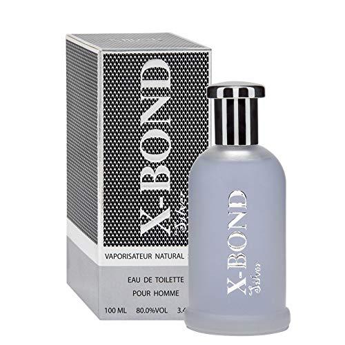 X-Bond Silver Eau de Toilette für Männer/homme/man - 100 ml Flakon - Stilvolles Geschenk für Ihn + Sale - Zimt-zitrus-parfum
