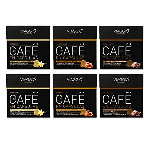 Viaggio Espresso - 60 Cápsulas de Café Compatibles con Máquinas Nespresso - SELECCIÓN SABORIZADOS