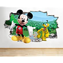 J19Mickey Mouse Goofy Disney para pared Póster 3d arte pegatinas vinilo habitación (tamaño mediano (52x 30cm))