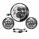 LED-Scheinwerfer Daymaker, 17,8 cm und Nebelscheinwerfer für Harley Davidson, 11,4 cm (Silber)