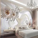 Chlwx 300cmX200cm (118.1inX78.15in) 3D Wandbild Tapeten Handbemalten Blumen Silk Pattern Wandbild Moderne Warme Romantische Tapeten Für Hochzeit Haus Einrichtung