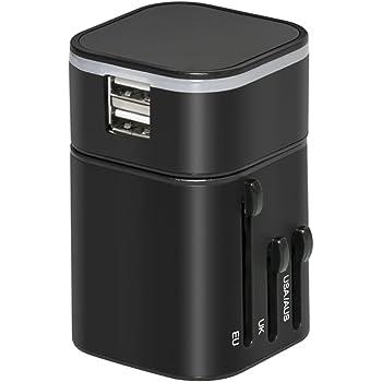 Adaptador de cargador de viaje Nubeter, adaptador de viaje universal en todo el mundo, pared todo en uno con puertos de carga USB dual [3200mA] para Apple, ...