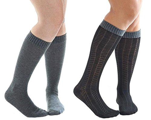 aerosoles-due-paia-di-calze-al-ginocchio-donna-black-gray-rope-taglia-unica