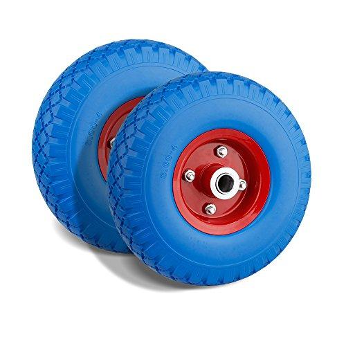 Preisvergleich Produktbild Forever Speed 2X PU Rad Pannensicher Schubkarrenrad Vollgummi Gummirad Blau mit 100kg Traglast Ø260mm /3.00-4 Reifenbreite 75mmNabenlänge 70mmAchsbohrung 20mm (blau+rot) (2pcs(260mm x75mm))
