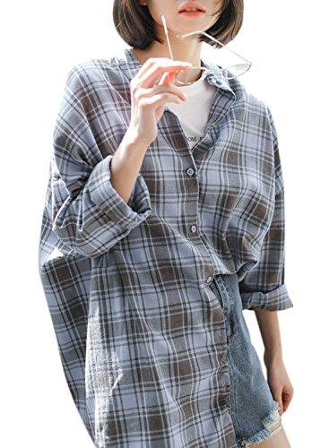 ACHICGIRL Women's Long Sleeve Loose Fit Button down Plaid Shirt blue