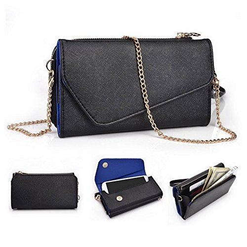 Kroo d'embrayage portefeuille avec dragonne et sangle bandoulière pour NIU Tek 4D2/Niutek 3.5d2Smartphone Multicolore - Black and Orange Multicolore - Black and Blue