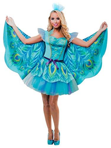 Brandsseller Damen Kostüm Verkleidung für Karneval Fasching Halloween Parties - Pfau, ()
