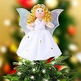 OurWarm Christbaumspitze Engel Flügel Weihnachtsbaum Deko Weiß Baumspitze 18cm