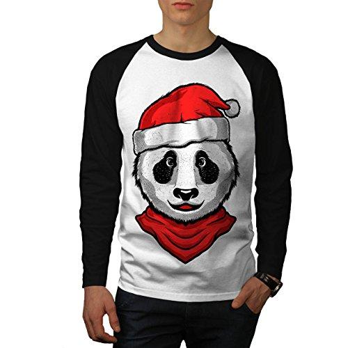 Weihnachten Panda Tier Männer XXL Baseball LS T-shirt | Wellcoda (Panda Baseball Jersey)