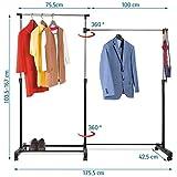 Tatkraft Twins Kleiderstange, höhenverstellbar mit Rollen, Stahl, schwarz, 175,5x 42,5x 167cm