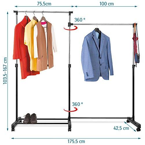 Tatkraft Twins Doppel Kleiderständer Kleiderstange auf Rollen Verstellbar Höhe Breite und Form Stahl Verchromt