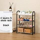 Estante para zapatos Fácil Ensamblado Ligero de plástico 3 Nivel Zapato Estante Estante Organizador de almacenamiento Soporte de soporte Mantener la habitación ordenada Puerta Ahorro de espacio S 4layers black