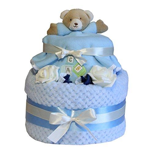 2 Ebenen Design enthält Teddybär Babytröster pink oder blau Design ideal Neugeborenes Baby Geschenk Baby Duschen Mutterschaft Leave Geschenk - Blau (Teddybär-baby-dusche)