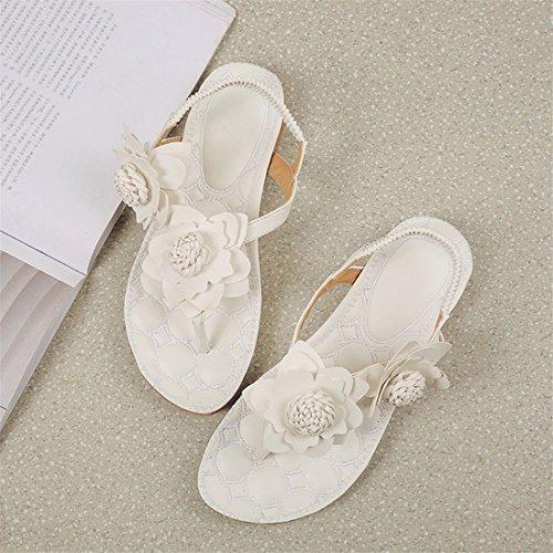 Malloom Sandalen, Damen Sommer Böhmen Blumen Flache Flip Flop Casual Soft Beach Sandale Schuhe Weiß