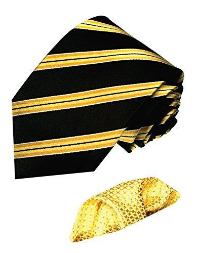 LORENZO CANA - Marken Set aus 100% Seide - Streifen Krawatte Gold Gelb Schwarz und Goldenes Eintstecktuch - 8450701 (Breite Streifen-krawatte)