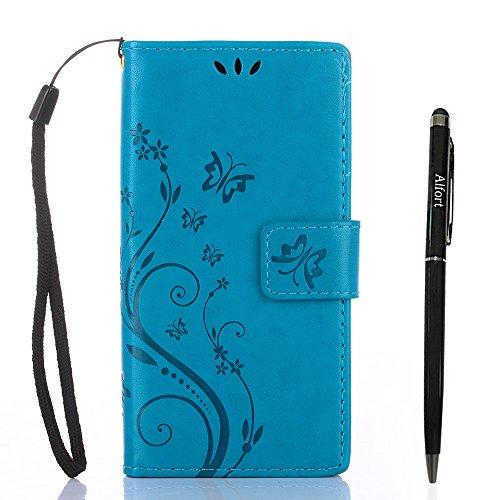 Sony Xperia X Compact Hülle, Sony Xperia X Compact Schutzhülle, Alfort 3 in 1 Lederhülle Fashion Design Premium PU Leder Hohe Qualität Tasche Case Cover Kasten Abdeckung Wallet für Sony Xperia X Compa Blau
