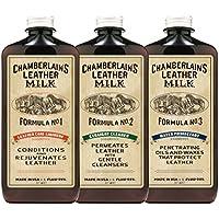 Chamberlain's Leather Milk - laits réparateurs pour cuir n° 1, 2 et 3 - avec 3 cotons - naturel/non toxique - 0.18 L