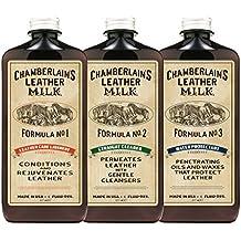 Chamberlains Leather Milk - Set de restauración de cuero - Limpiador, acondicionador e impermeabilizante naturales