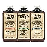 Chamberlain's Leather Milk - Kit rivitalizzante per prodotti in pelle Detergente, balsamo emolliente, e protettore contro l'acqua Kit per la cura della pelle, Leather Milk No. 1-3, prodotti naturali e atossici 2 dimensioni. Made in USA. Include 3 spugnette applicatrici! - 0.18 L