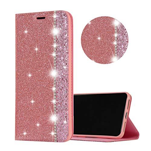 Obesky Hülle für Samsung Galaxy Note 8, Luxus Bling Glitzer Diamant PU Leder Flip Wallet Case mit Kartensfach Magnetverschluss Standfunktion Schutzhülle für Samsung Galaxy Note 8, Rosa