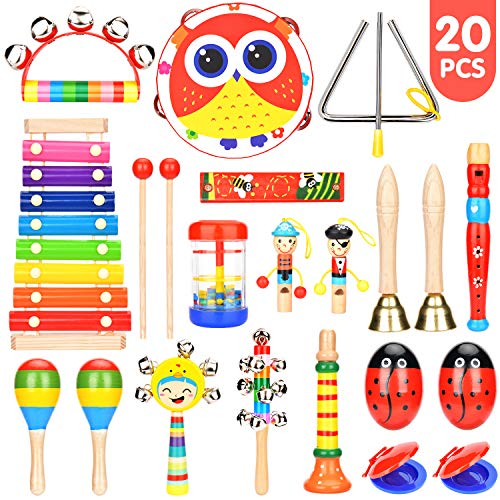Elover Musical Instruments Toddlers 15 Types 20 PCS Wooden Percussion Instrument Toys Including Tambourine Xylophone etc. Early Learning Musical Toys Set for Boys Girls with Storage Backpack