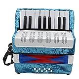 Andoer Mini Kleine 17-Touches 8Bass Akkordeon Bildung Musik Instrument Spielzeug für Kinder Amateur Anfänger Weihnachtsgeschenk Blau