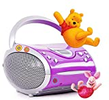 etc-shop Hochwertiges Stereo FM Radio CD Player Lautsprecher tragbar Musik im Set Inklusive Winnie Pooh Sticker