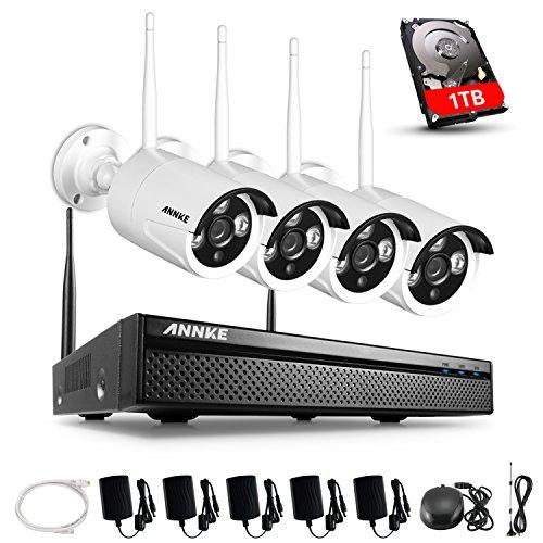 ANNKE 4CH 1080P HD Überwachungskamera Aussen WLAN Set, Wireless NVR System Funk Überwachungsset mit 1TB Festplatte Plus 4 X 2.0MP WiFi Outdoor Netzwerk Außen IP Überwachungskamera Kabellos