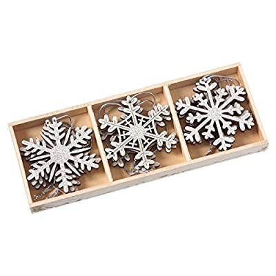 9 Silver Wooden Snowflake Christmas Tree Decoration