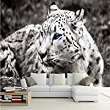Guyuell Benutzerdefinierte Fototapete Moderne Mode Wilde Leopard Fototapete Wandbild Wohnzimmer Schlafzimmer Dekoration Hintergrund Wand-120Cmx100Cm