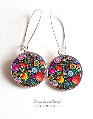Boucles d'oreilles cabochon fleurs colorées folklore russe mexicain floral poupée russe matryoshka