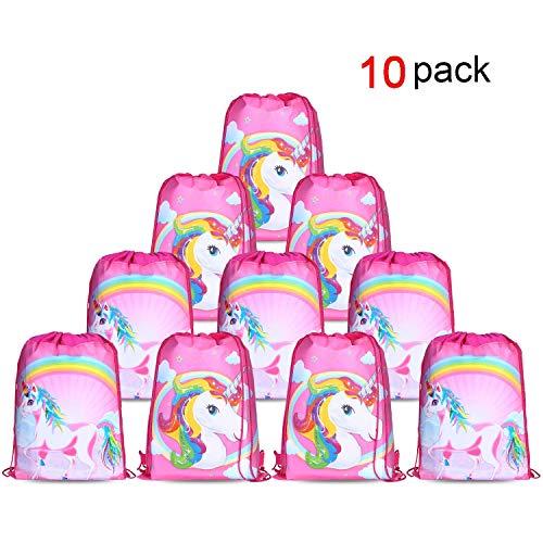 er Cute Kordelzug Rucksack Bag Turnbeutel für kinder Mädchen Frauen gym sack beutel Einhorn Geschenke party deko kindergeburtstag -Set von 10 ()