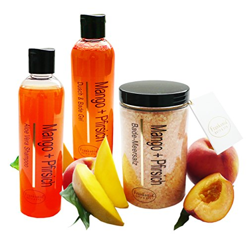Pflegeset Damen Mango-Pfirsich im 3er Set Duschgel & Badezusatz, Shampoo 2 x 250 ml und Badesalz 450 g als Geschenkset